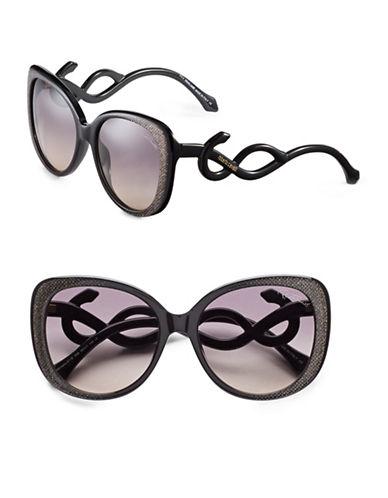 Roberto Cavalli RC911S 56mm Square Sunglasses-SHINY BLACK WITH GLITTER-One Size