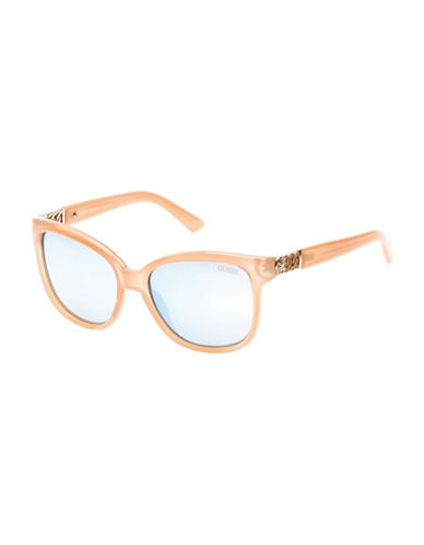 Guess Chain Link Detail Rectangle Sunglasses-BEIGE-One Size