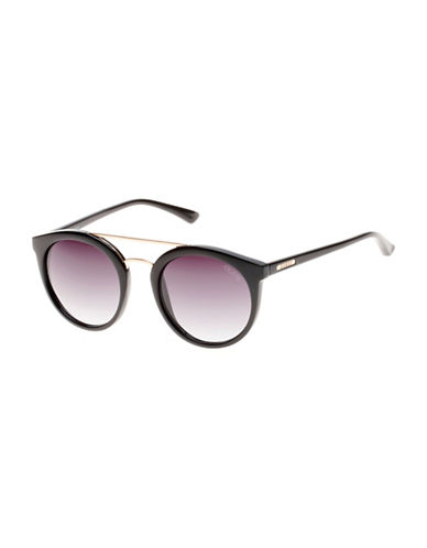 Guess Goldtone Brow Bar 52mm Round Sunglasses-BLACK-One Size