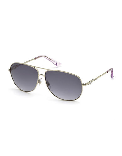 Swarovski 61mm Aviator Sunglasses-GOLD-One Size