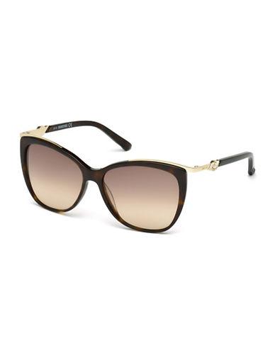 Swarovski 57mm Cat Eye Sunglasses-BROWN-One Size
