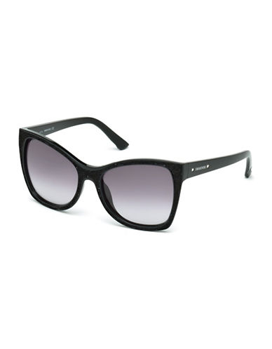 Swarovski 56mm Oversized Square Sunglasses-BLACK-One Size