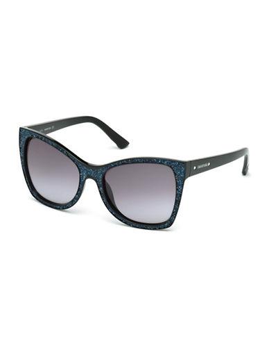 Swarovski 56mm Oversized Square Sunglasses-BLACK GLITTER-One Size