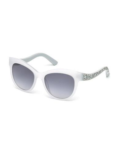 Swarovski 54mm Cat Eye Crystal Arm Sunglasses-OPAL WHITE-One Size