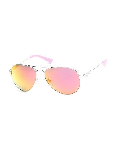 Guess Silvertone 57mm Aviator Sunglasses-SILVER-One Size