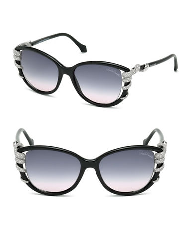 Roberto Cavalli 53mm Cat-Eye Snake-Temple Sunglasses-BLACK-One Size