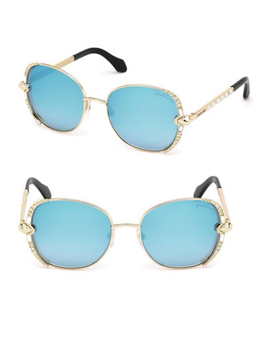 Roberto Cavalli 56mm Round Sunglasses-GOLD-One Size