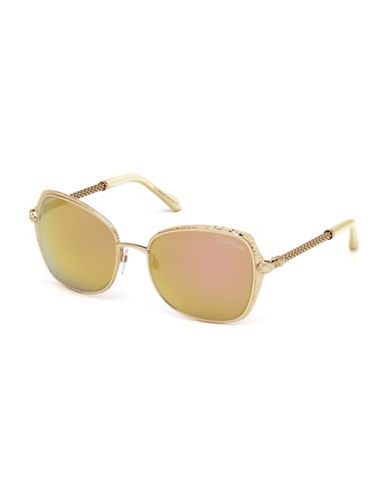 Roberto Cavalli 58mm Snake Temple Square Sunglasses-ROSE GOLD-One Size
