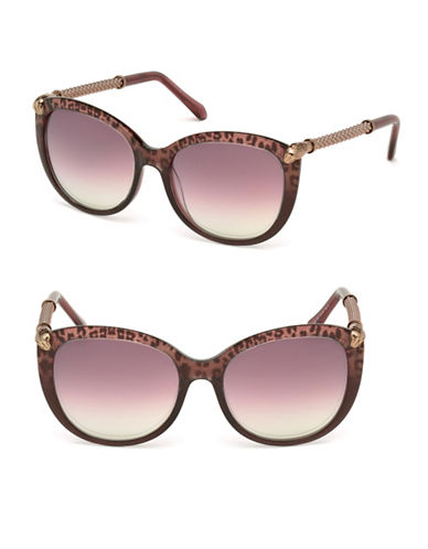 Roberto Cavalli 57mm Leopard Tortoise-Look Cat-Eye Sunglasses-BLACK-One Size
