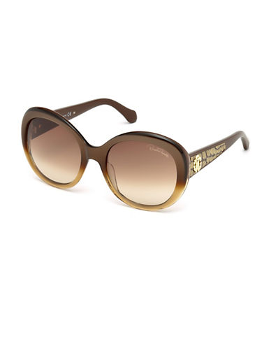 Roberto Cavalli Round Gradient Sunglasses-BROWN-One Size