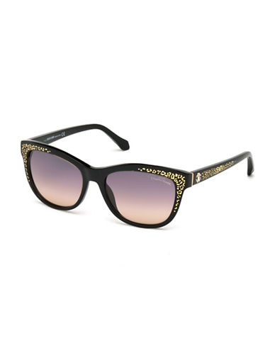 Roberto Cavalli 55mm Spot Print Wayfarer Sunglasses-BLACK-One Size