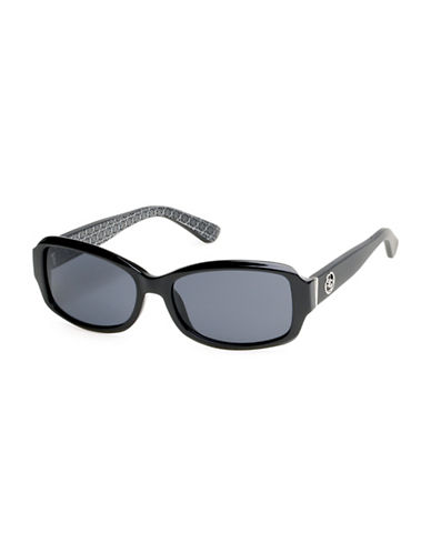 Guess 55mm Rectangular Sunglasses-BLACK-One Size