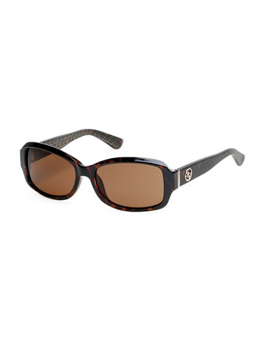 Guess 55mm Rectangular Sunglasses-HAVANA-One Size