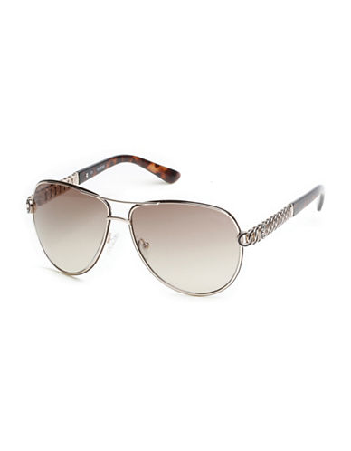 Guess 59mm Aviator Sunglasses-GOLD-One Size