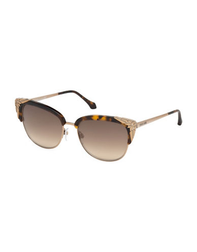 Roberto Cavalli RC1014W5652G 56MM Tortoise Pattern Cats Eye Sunglasses-BROWN-One Size