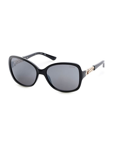 Guess Chain Link Detail Butterfly Sunglasses-BLACK-One Size