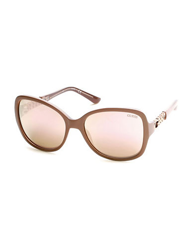 Guess Chain Link Detail Butterfly Sunglasses-PINK-One Size