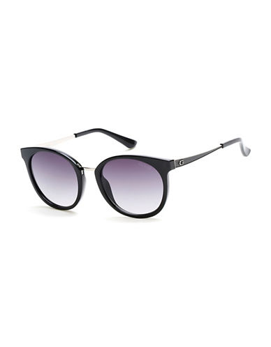Guess 52mm Round Sunglasses-BLACK-One Size