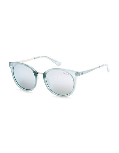 Guess Transparent-Detailed 52mm Round Sunglasses-LIGHT BLUE-One Size
