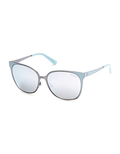 Guess 58mm Rectangle Sunglasses-GUNMETAL-One Size