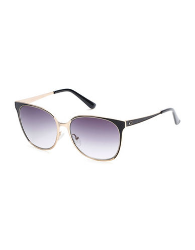 Guess Goldtone 58mm Rectangular Sunglasses-GOLD-One Size