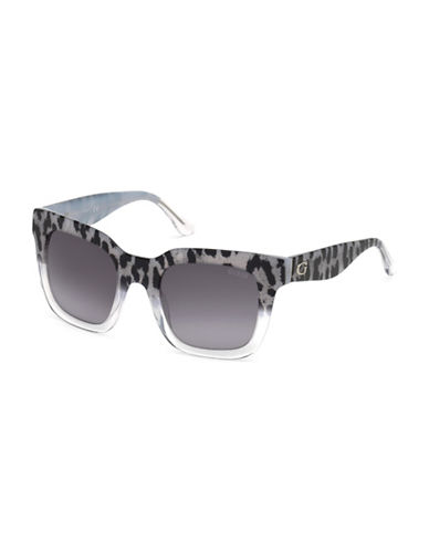 Guess 50mm Leopard Print Square Sunglasses-BLACK-One Size