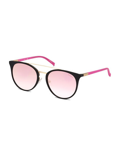 Guess 56mm Tinted Double-Bridge Round Sunglasses-PINK-One Size