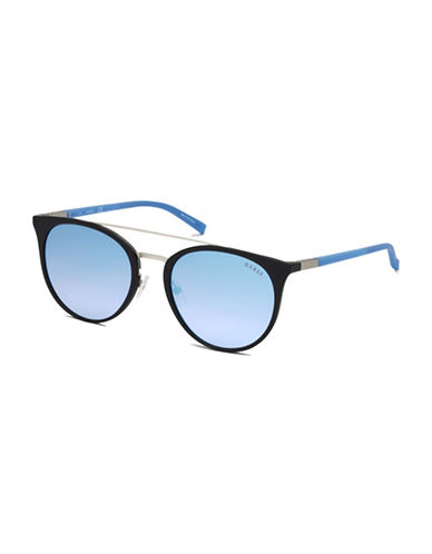 Guess 56mm Tinted Double-Bridge Round Sunglasses-BLUE-One Size