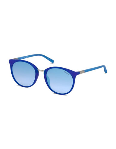 Guess 56mm Tinted Round Sunglasses-BLUE-One Size
