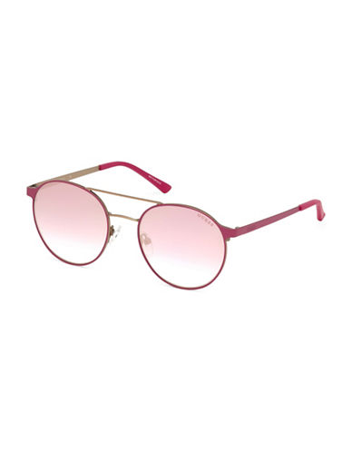 Guess 56mm Tinted Round Wire Frame Sunglasses-PINK-One Size
