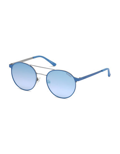 Guess 56mm Tinted Round Wire Frame Sunglasses-BLUE-One Size