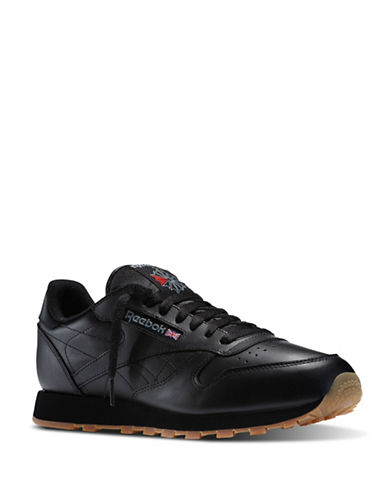 Reebok Mens Classic Leather Sneakers-BLACK-9.5 88154435_BLACK_9.5