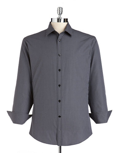 Black brown 1826 Printed Cotton Sport Shirt dark grey Large
