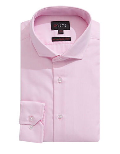 1670 Slim-Fit Birdseye Dress Shirt-PINK-17-32/33