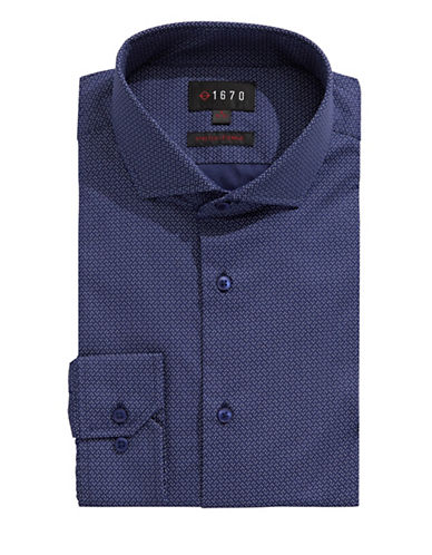 1670 Spotted Dress Shirt-NAVY-16.5-34/35