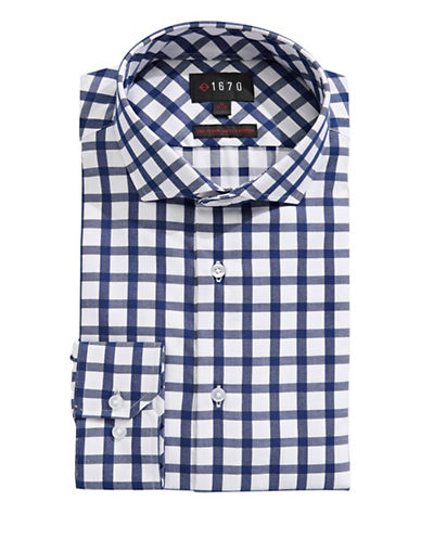 1670 Grid Check Dress Shirt-NAVY-15.5-34/35