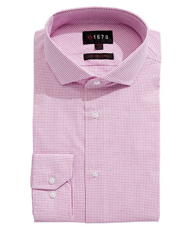 1670 Grid Check Dress Shirt-RED-15.5-34/35