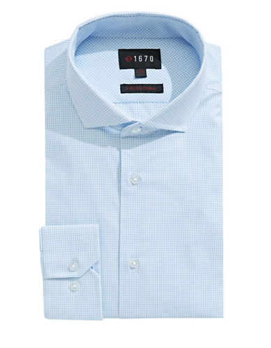 1670 Grid Check Dress Shirt-BLUE-16.5-34/35