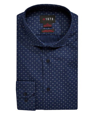 1670 Slim Fit Mixed-Dot Dress Shirt-NAVY-17-34/35