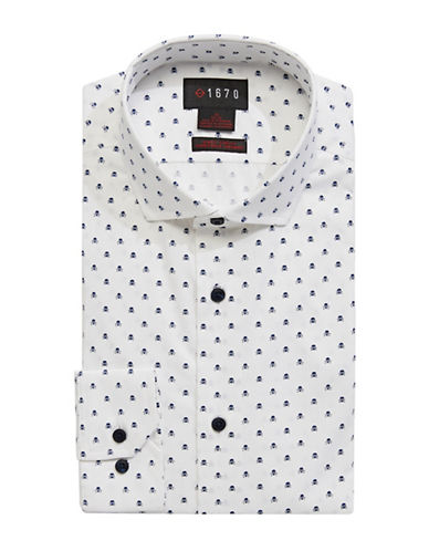 1670 Skull-Printed Slim Fit Dress Shirt-WHITE-16-32/33