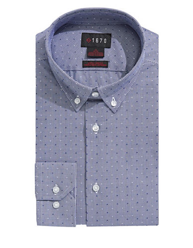 1670 Grid Check Dress Shirt-NAVY-15-32/33