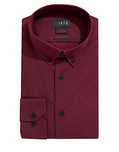 1670 Grid Check Dress Shirt-BURGUNDY-16.5-34/35