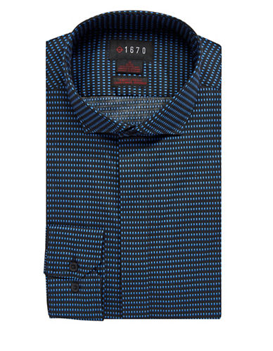 1670 Slim Fit Mixed-Dot Dress Shirt-BLACK-16.5-32/33