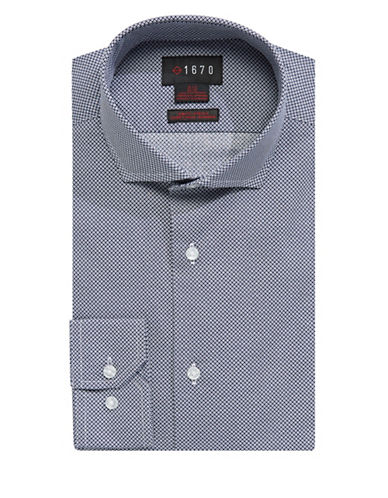 1670 Slim Fit Mixed-Dot Dress Shirt-NAVY-15-32/33