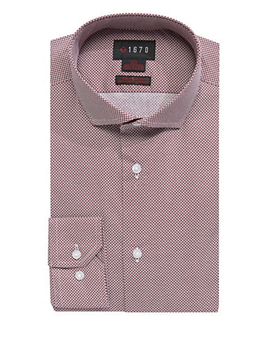 1670 Slim Fit Mixed-Dot Dress Shirt-RED-14.5-32/33