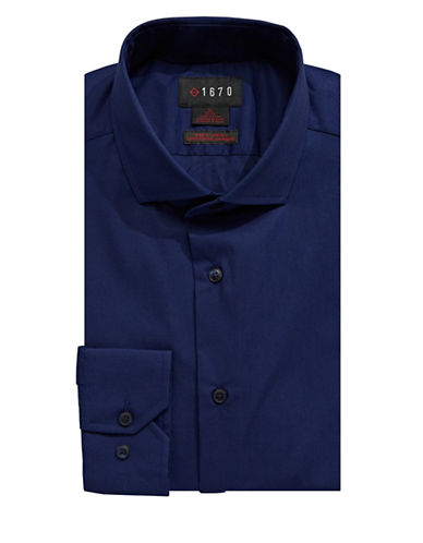 1670 Slim-Fit Stretch Dress Shirt-NAVY-15.5-34/35