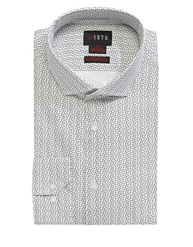 1670 Petal-Print Cotton Dress Shirt-WHITE-16-32/33