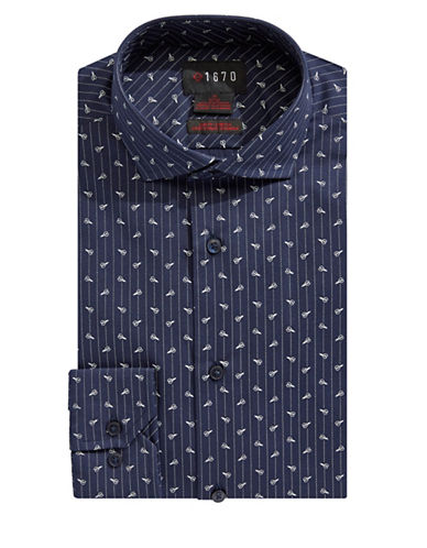 1670 Long Sleeve Dress Shirt-NAVY-17-32/33