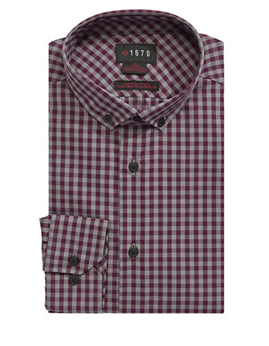1670 Checkered Dress Shirt-RED-15-32/33