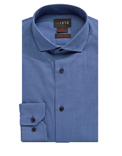 1670 Cotton-Blend Dress Shirt-BLUE-15-32/33